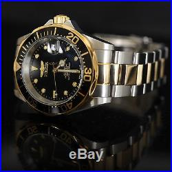 Invicta Pro Diver Automatic Gold Plated Two Tone Black Dial Silver SS Mens Watch