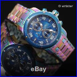 Invicta Pro Diver Scuba Rainbow Iridescent Blue Dial Chrono 48mm Mens Watch Rare