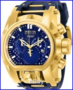 Invicta Reserve Mens 52mm Bolt Zeus Magnum Swiss Blue Dial Rubber Strap Watch