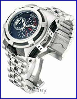 Invicta Reserve Mens Bolt Zeus Tria 52MM Blk Dial Swiss Chrono SS Bracelet Watch