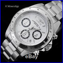 Invicta Speedway Chronograph Stainless Steel White Dial Tachymeter WR Mens Watch