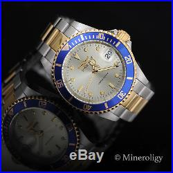 LIMITED EDITION Invicta Pro Diver AUTOMATIC 18k Gold IP 2Tone Blue Bz Mens Watch