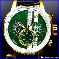 Men Invicta S1 Rally Racing Green Gold Plated Leather Chronograph Watch New