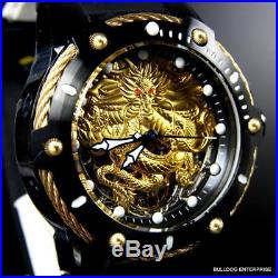 Men's Invicta Bolt Dragon Gold Tone Mechanical Black Silicone 52mm Watch New