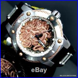 Men's Invicta Bolt Dragon Rose Gold Tone Mechanical Silicone 52mm Watch New