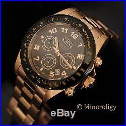 Men's Invicta Speedway 18k Rose Gold IP Black Brown Chronograph Tachymeter Watch