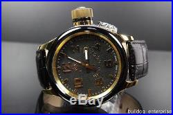 Mens Invicta 12425 Russian Diver Black Leather Swiss Made Watch MSRP $1395 New