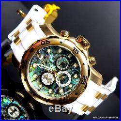 Mens Invicta 48mm Pro Diver Scuba Abalone White Gold Tone Chronograph Watch New
