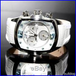 Mens Invicta 6128 Lupah Revolution Leather White Chronograph Swiss Watch New
