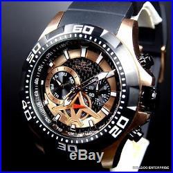 Mens Invicta Aviator Black Rose Gold Tone Multifunction Carbon Fiber Watch New