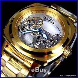 Mens Invicta Aviator Ghost Bridge Mechanical Skeleton Gold Plated 48mm Watch New