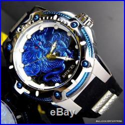 Mens Invicta Bolt Dragon Blue Black Silicone Strap 52mm Automatic Watch New