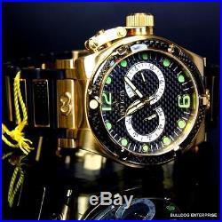 Mens Invicta Corduba Ibiza Carbon Fiber Chronograph Black Gold Plated Watch New