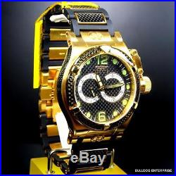 Mens Invicta Corduba Ibiza Carbon Fiber Chronograph Black Gold Plated Watch New