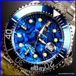 Mens Invicta Grand Diver Automatic Diamond Silver Steel Blue Abalone Watch New