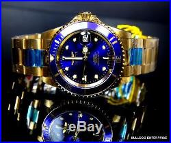 Mens Invicta Pro Diver 18kt Gold Plated Blue NH35A Automatic Watch Warranty New
