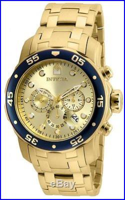 Mens Invicta Pro Diver 80068 Scuba Gold Plated Steel Chronograph Watch New