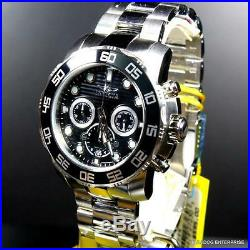 Mens Invicta Pro Diver Black 50mm Chronograph Stainless Steel Watch New