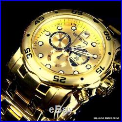 Mens Invicta Pro Diver Scuba 18kt Gold Plated Chronograph Swiss Parts Watch New