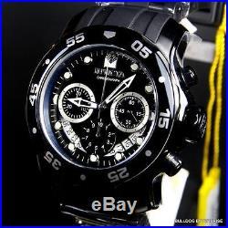 Mens Invicta Pro Diver Scuba Black Chronograph Rubber 48mm Watch Swiss Parts New