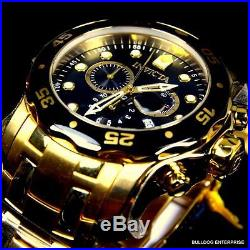 Mens Invicta Pro Diver Scuba Gold Plated Black Chronograph Swiss Parts Watch New