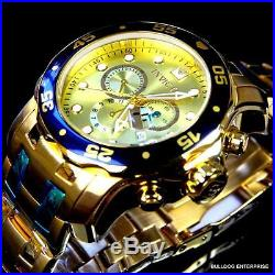 Mens Invicta Pro Diver Scuba Gold Plated Steel Chronograph Swiss Parts Watch New