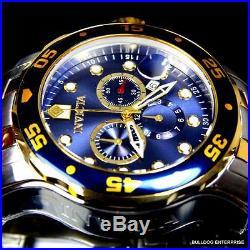 Mens Invicta Pro Diver Scuba Silver Gold 2 Tone Blue Steel Swiss Parts Watch New