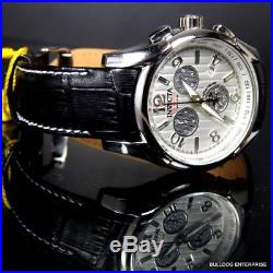 Mens Invicta Reserve 45mm Specialty Swiss Made COSC Black Leather Watch New