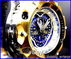 Mens Invicta Reserve Venom Hybrid Swiss Master Calendar Gold Tone Blue Watch New