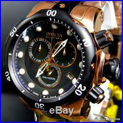 Mens Invicta Reserve Venom Rose Gold Tone Chronograph Swiss Made Black Watch New