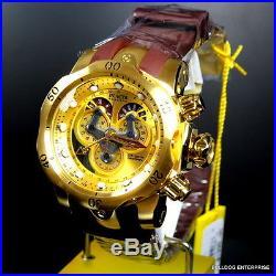Mens Invicta Reserve Venom Swiss Master Calendar Gold Plated Brown Watch New