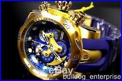 Mens Invicta Reserve Venom Swiss Movt Master Calendar Gold Blue Watch New 14465