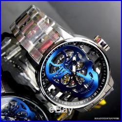 Mens Invicta S1 Rally Mechanical Blue Skull 48mm Skeletonized Steel Watch New
