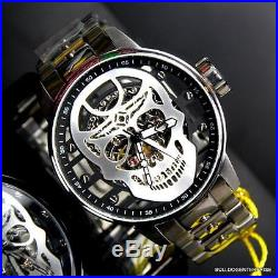 Mens Invicta S1 Rally Mechanical Silver Skull 48mm Skeletonized Steel Watch New