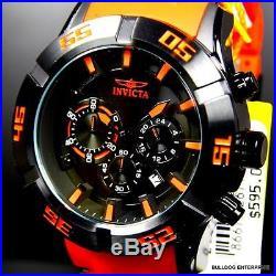 Mens Invicta Sea Spider 50mm Chronograph Black Orange Rubber Watch New