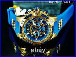 NEW Invicta 50mm Men's SPEEDWAY VIPER II SAPPHIRE BLUE DIAL Gold Tone SS Watch