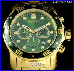 NEW Invicta Men 48mm Pro Diver Scuba Chronograph Stainless St. GREEN DIAL Watch