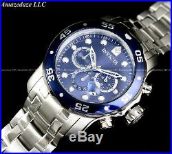 NEW Invicta Men 48mm Pro Diver Scuba Chronograph Stainless Steel Blue Dial Watch