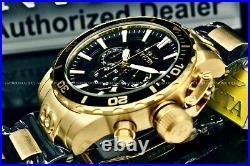 NEW Invicta Men 52MM CORDUBA IBIZA Chronograph BLACK DIAL Gold Tone S. S Watch