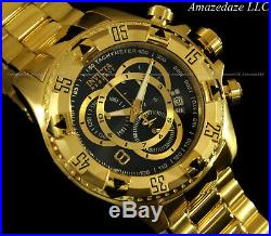 NEW Invicta Men Swiss Reserve Excursion Touring 18K Gold Plated Stainless St Wat