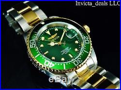 NEW Invicta Men's 40mm Pro Diver Green Dial Coin Edge Bezel Gold 2Tone SS Watch