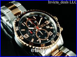 NEW Invicta Men's 45mm PILOT Specialty Chrono Black Dial 18K Rose 2Tone SS Watch