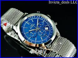 NEW Invicta Men's 45mm SPEEDWAY Chronograph BLUE DIAL Mesh Bracelet SS Watch