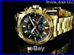 NEW Invicta Men's 45mm Specialty Chronograph 18K Gold Plated Black Dial SS Watch
