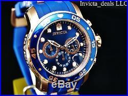 NEW Invicta Men's 48mm Pro Diver SCUBA Chronograph Blue Label Rose Tone SS Watch