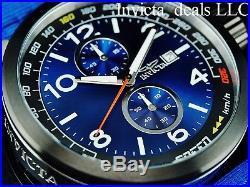 NEW Invicta Men's 50mm Aviator Quartz Chronograph Blue Dial SS Nylon Strap Watch