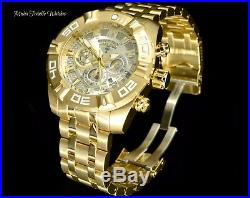 NEW Invicta Men's 50mm JASON TAYLOR Quartz Chronograph Gold Tone SS Watch + CASE