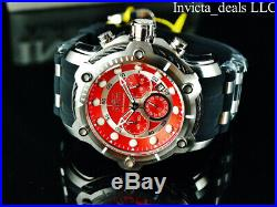NEW Invicta Men's 50mm Nautical Bolt Chronograph Silver Tone Red Dial SS Watch