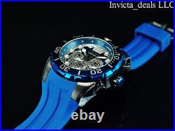 NEW Invicta Men's 50mm PRO DIVER Chronograph CAGE DIAL Blue/Black Tone SS Watch