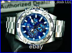NEW Invicta Men's 52mm AVIATOR Swiss Chronograph BLUE DIAL Silver Tone SS Watch